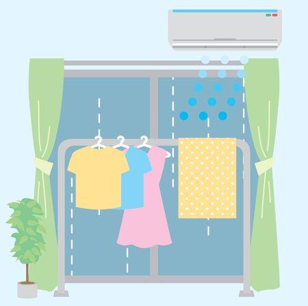 Rainy season indoor drying illustration