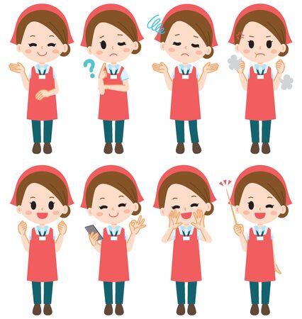 Supermarket clerk illustration set Illustration