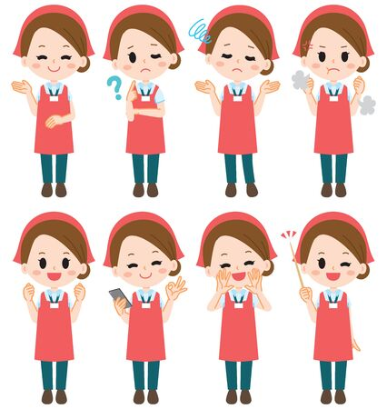 Supermarket clerk illustration set Stock Illustratie