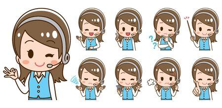 Operator woman headset illustration
