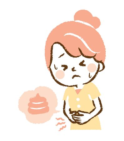 Illustration that young woman endures stomachache Illustration