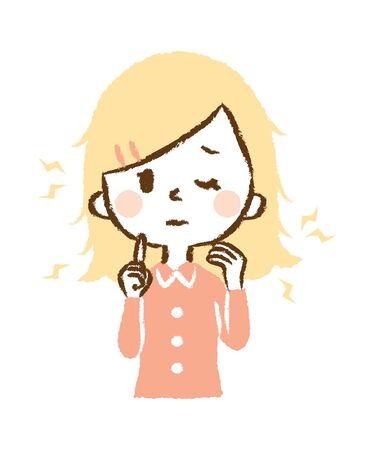Illustration of woman suffering from hair drying