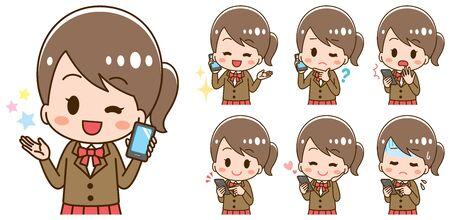 A set of illustrations where a high school girl has a smartphone Ilustración de vector