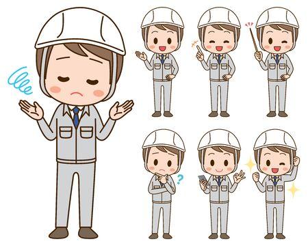 Illustration set of men in work clothes