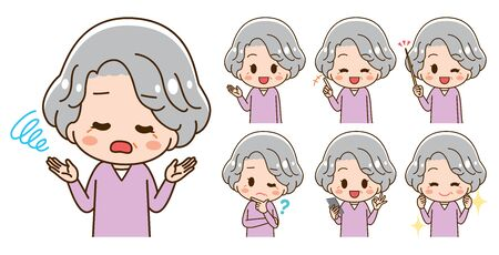 Illustration set of 7 types of senior women
