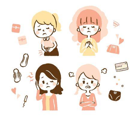 Illustration set where women suffer from menstruation