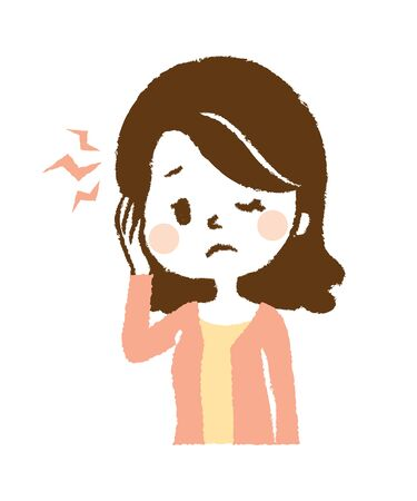 Illustration that woman suffers from headache