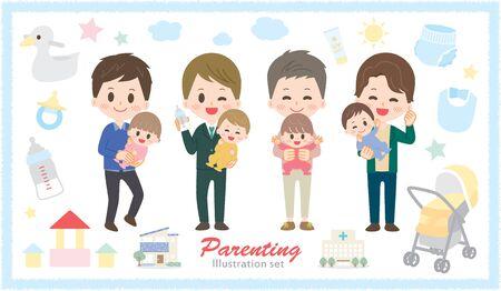 Illustration set of men taking care with baby goods Illustration