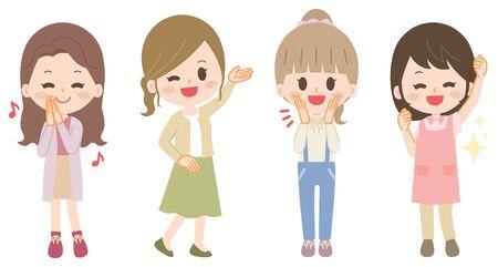 Young woman illustration set