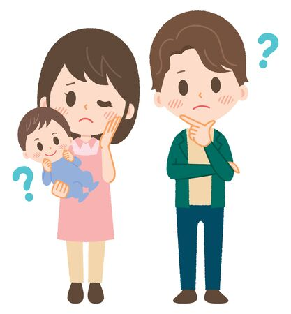 A couple with small children is in trouble Ilustração