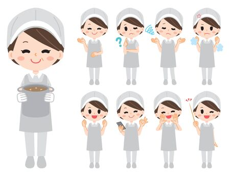 Aunt of school lunch illustration set