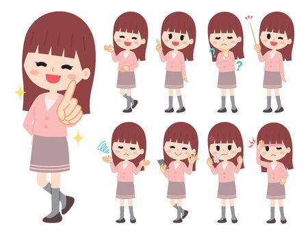 Illustration of young woman whole body set  イラスト・ベクター素材