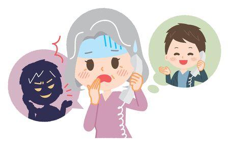 Donna anziana che incontra una frode telematica