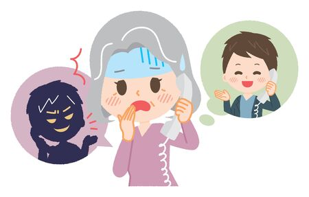 Femme aînée rencontrant la fraude de fil
