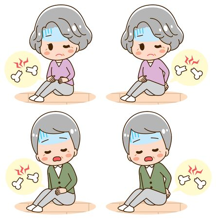 Knee pain and back pain illustration set  イラスト・ベクター素材
