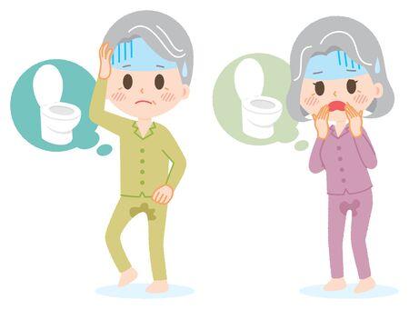 Oudere man en vrouw die plas lekten Vector Illustratie