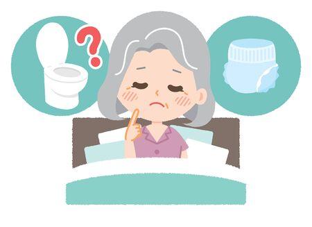 Une femme âgée est troublée par les toilettes et les couches