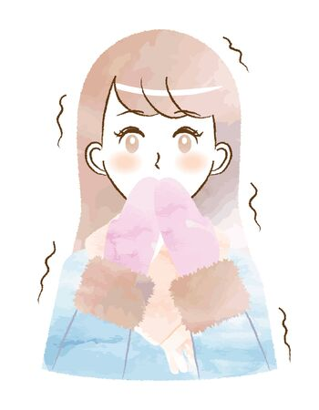 Illustration of a woman shivering in the cold