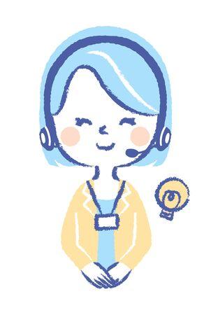 Ilustración de mujer consultor operador