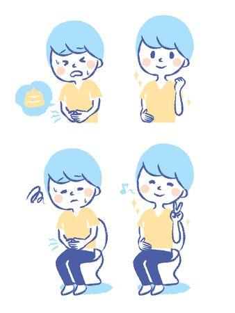 Illustration set about toilet trouble