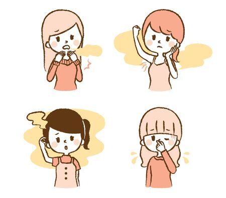 Illustration set of women smelling smell Illustration