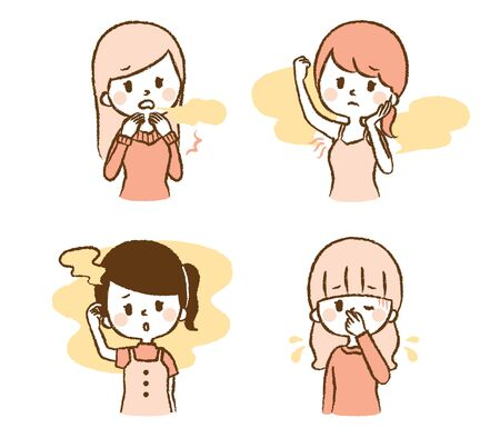 Illustration set of women smelling smell Иллюстрация