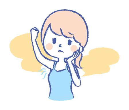 Illustration of a woman who smells the armpit