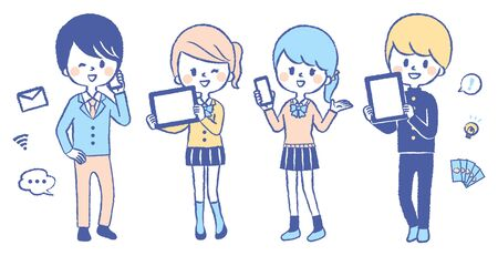 Illustration set of students with smartphone and tablet