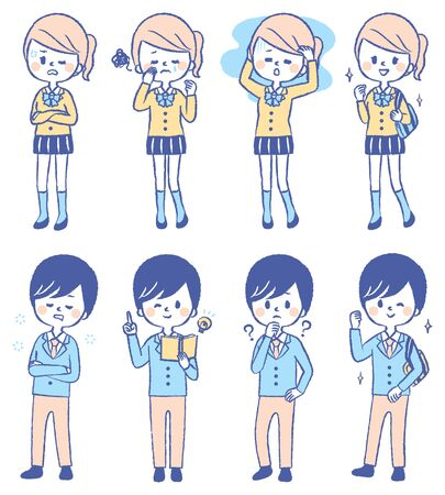 Illustration set of various students  イラスト・ベクター素材