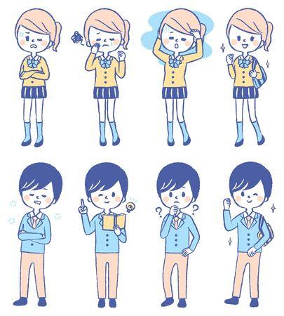 Illustration set of various students Illustration