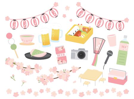 Cherry Blossom and Cherry Blossom Viewing Illustration Set Ilustração