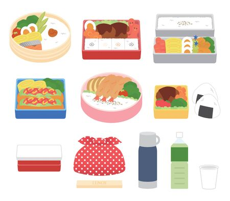 Illustration set of delicious bento