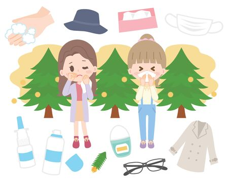 Illustration set for hay fever