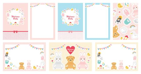 Cute illustration set of baby goods