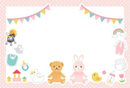 Cute illustration set of baby goods