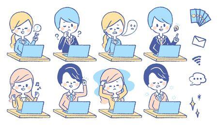 A company employee uses a computer Ilustração