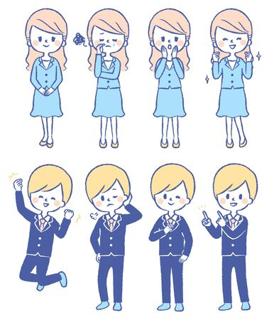 Illustration set of men and women in suits 矢量图像