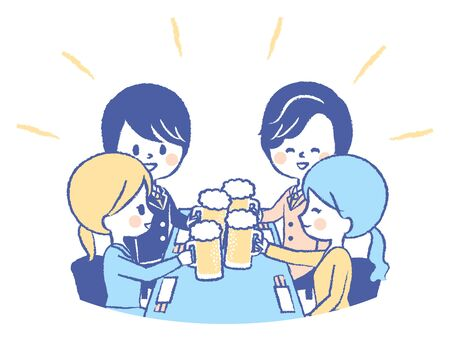 Illustration of a drinking party