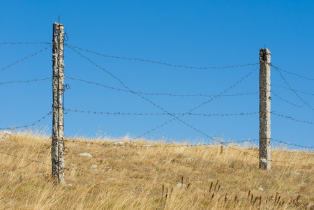 is cloudless: Barrier with barbed wire against blue cloudless sky Stock Photo