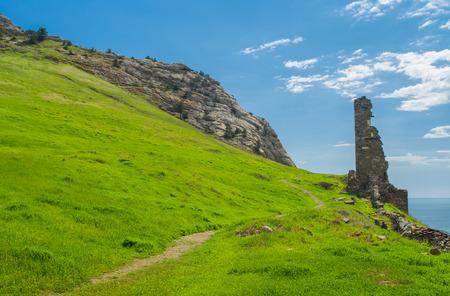 genoese: Path to ruins of ancient Genoese fortress in Sudak, Crimean peninsula, Ukraine