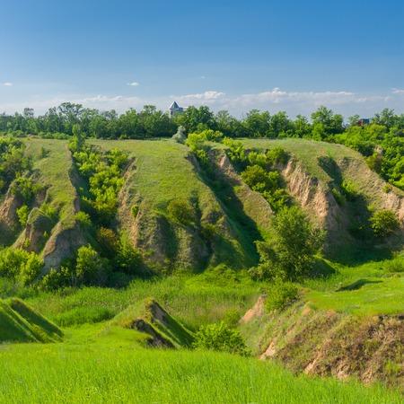 soil erosion: Landscape in central Ukraine with soil erosion at spring season