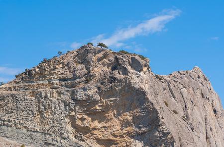 unaffected: Geological structure of Crimean mountain named Koba-Kaya near Noviy Svet resort Stock Photo