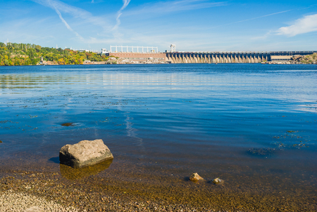 dnepr: View from Khortytsia island to Hydroelectric Station on the Dnepr River, Zaporizhia, Ukraine