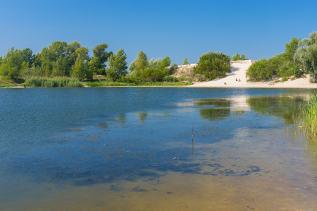 dnepr: Summer on a Dnepr river near Kremenchuk city, Ukraine Stock Photo