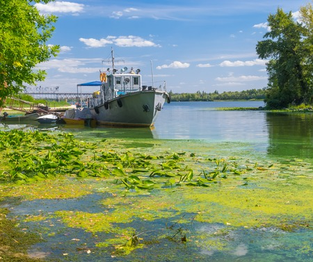 dnepr: Old rescue boat on a Dnepr river in Kremenchuk city, Ukraine