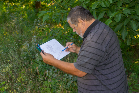 hombre con barba: Portrait of senior man doing sketch landscape in pencil