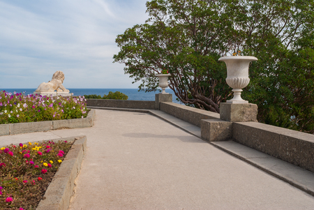 alupka: View from path in the Vorontsovsky Park to Black Sea, in the town of Alupka in Crimean peninsula