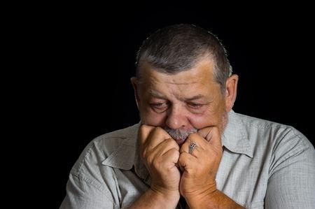 desperately: Portrait of senior man desperately thinking about life problems