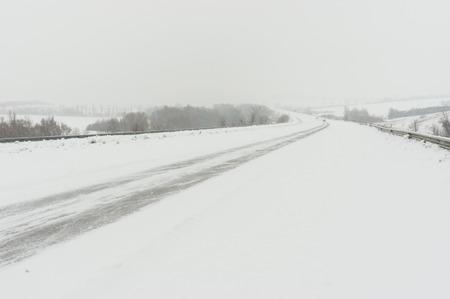 snowdrift: Landscape with highway and snow-drift near Dnepropetrovsk city, Ukraine
