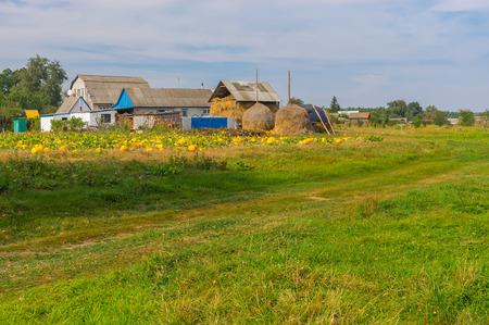 garden settlement: Autumnal landscape with small remote village in central Ukraine Stock Photo